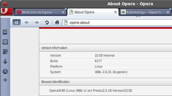 Web browser Opera 10.5