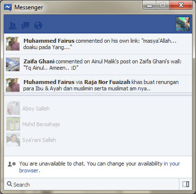 Facebook messenger chat windows
