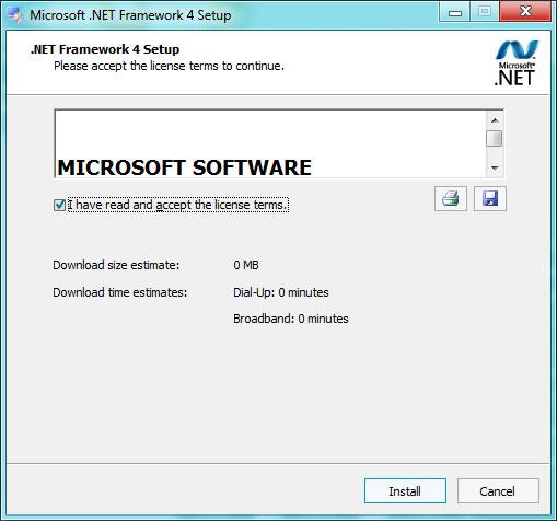 Microsoft .NET framework 4.0 installation