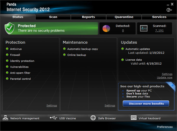 Panda Internet Security 2012 - interface